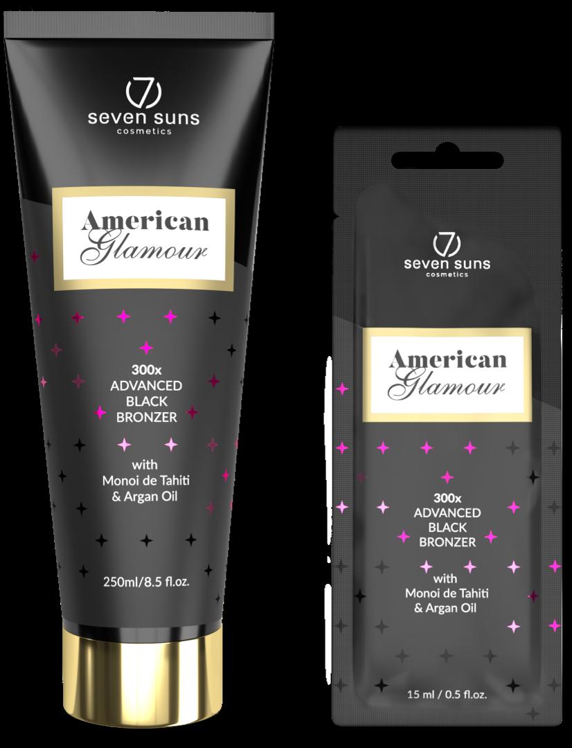 American Glamour bronzer tube and sachet