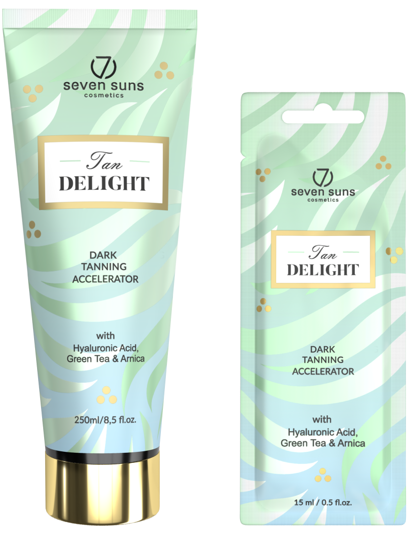 Tan Delight tanning accelerator tube and sachet