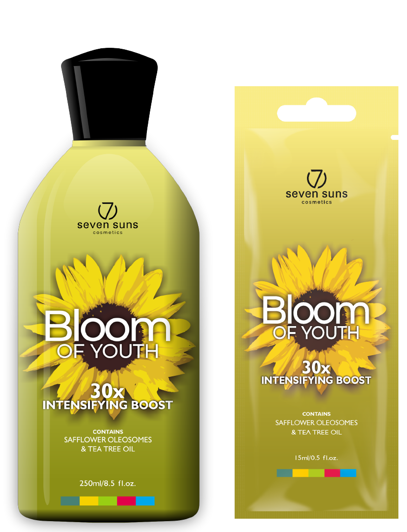 Bloom Of Youth bottle and sachet tanning accelerator